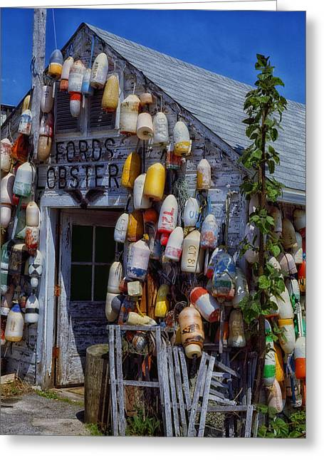 Lobster Shack Buoys In Maine Greeting Card by Mountain Dreams
