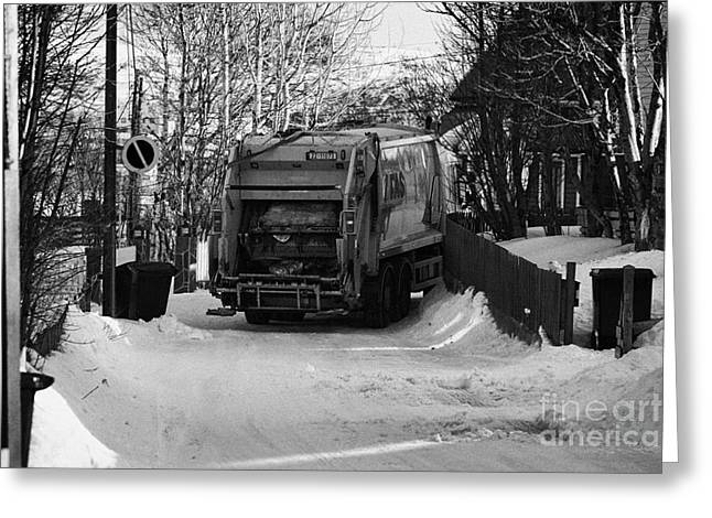 Snow Covered Street Greeting Cards - Local Waste Collection Lorry Collecting From Snow Covered Residential Street Kirkenes Finnmark Norwa Greeting Card by Joe Fox