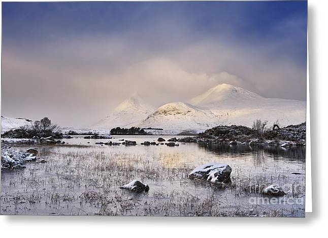 Rannoch Moor Greeting Cards - Lochan na h-Achlaise Greeting Card by Rod McLean