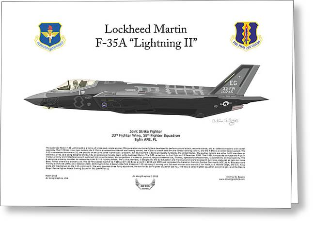 F-101 Greeting Cards - Lockheed Martin F-35A Lightning II Greeting Card by Arthur Eggers