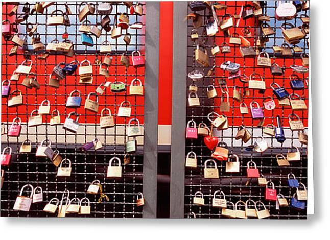 Cologne Greeting Cards - Locks Of Love On A Fence, Hohenzollern Greeting Card by Panoramic Images