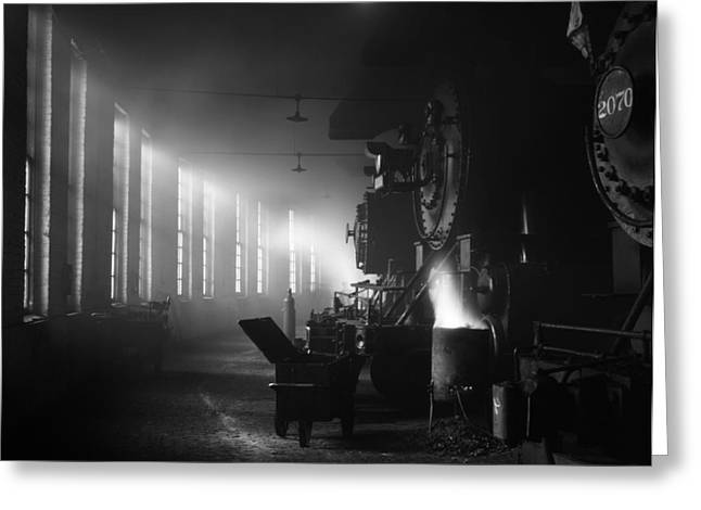 Railway Transportation Greeting Cards - Locomotive Roundhouse in Chicago 1943 Greeting Card by Mountain Dreams