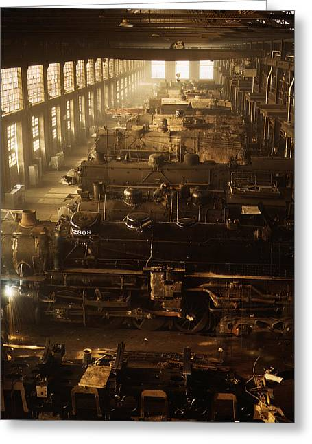 Repair Facility Greeting Cards - Locomotive Shop - Chicago 1942 Greeting Card by Mountain Dreams