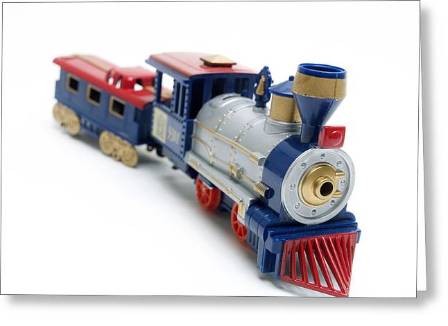 Small Square Greeting Cards - Locomotive Toy Greeting Card by Bernard Jaubert