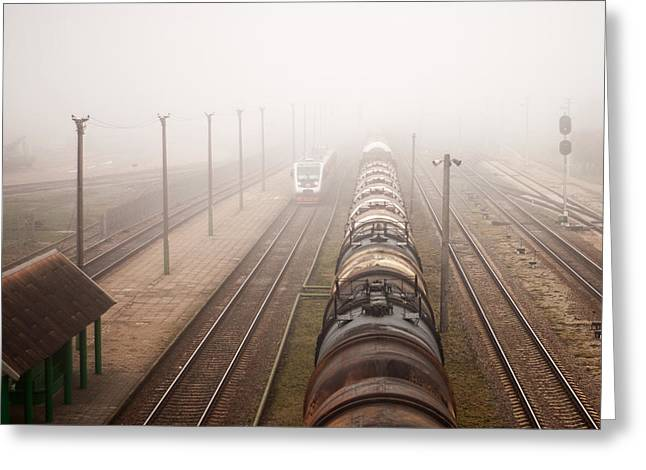 Barrel Pyrography Greeting Cards - Locomotive Train Greeting Card by Nerijus Juras