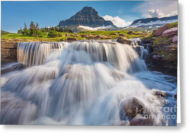 Reynolds Greeting Cards - Logan Pass Cascades Greeting Card by Inge Johnsson
