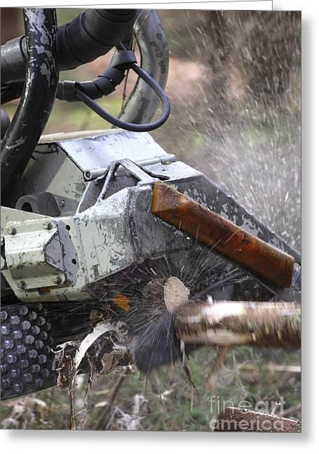 Wood Cutting Tools Greeting Cards - Logging Machine Greeting Card by Bjorn Svensson