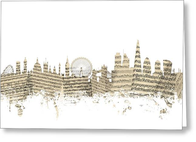 London England Skyline Sheet Music Cityscape Greeting Card by Michael Tompsett