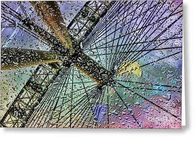 Indian Summer Greeting Cards - London Eye in a rainy day Greeting Card by Indian Summer