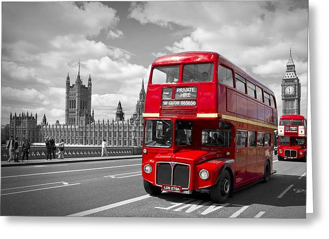 Old Towns Digital Art Greeting Cards - London - Houses of Parliament and Red Buses Greeting Card by Melanie Viola