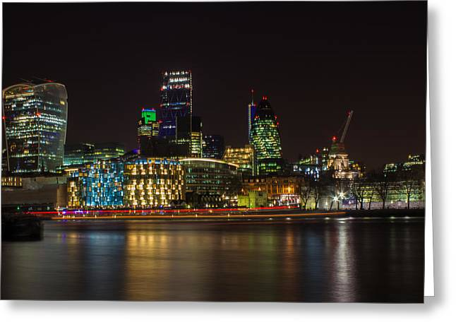 Night Life Greeting Cards - London Skyline Greeting Card by Martin Newman