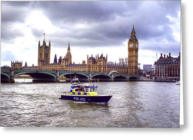Police Officer Greeting Cards - London Town Greeting Card by Fizzy Image