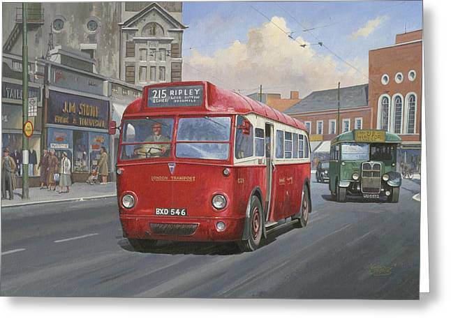 1930s Paintings Greeting Cards - London Transport Q type. Greeting Card by Mike  Jeffries