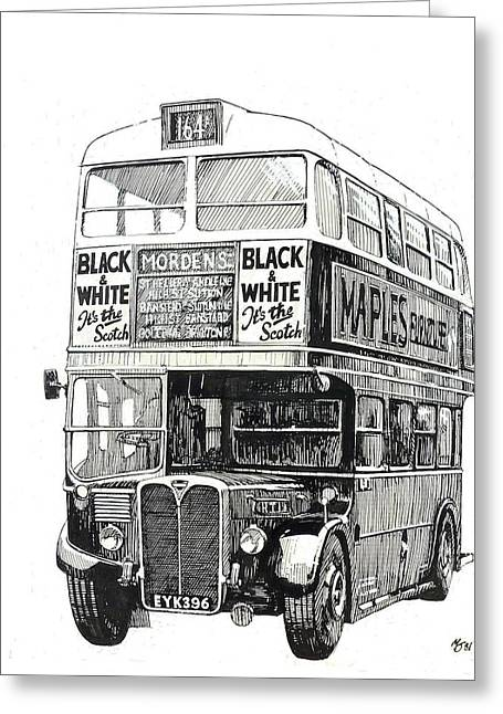 Pen And Ink Drawing Greeting Cards - London Transport RT1. Greeting Card by Mike  Jeffries