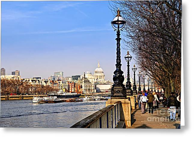 South Bank Greeting Cards - London view from South Bank Greeting Card by Elena Elisseeva