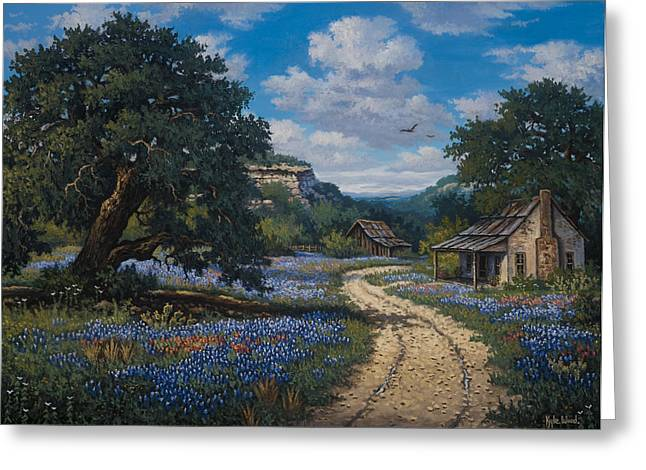 Old Country Roads Paintings Greeting Cards - Lone Star Vision Greeting Card by Kyle Wood
