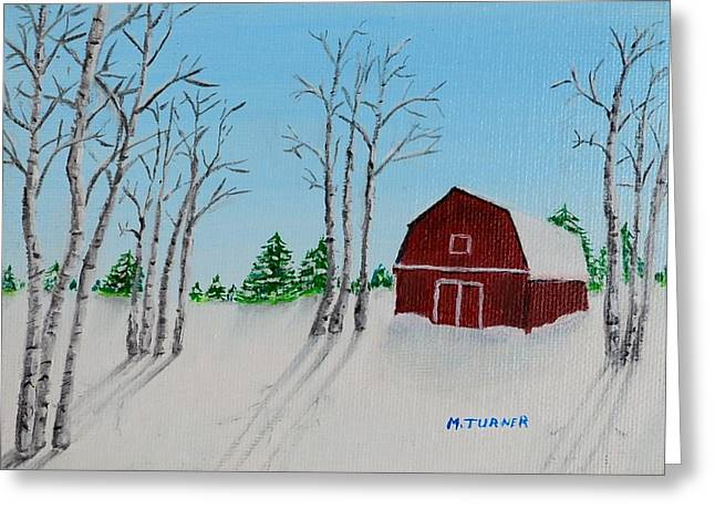 Snow On Barn Greeting Cards - Lonely Barn Greeting Card by Melvin Turner