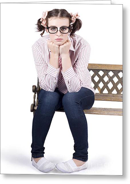 Lonely Business Girl Sitting On Park Bench Greeting Card by Jorgo Photography - Wall Art Gallery