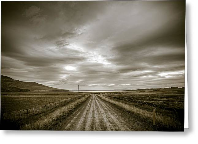 Gravel Road Greeting Cards - Lonely road Greeting Card by Alexey Stiop