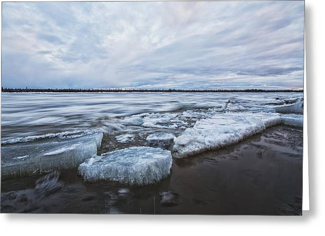 Urban Images Greeting Cards - Long Exposure Of The Ice Flowing Greeting Card by Robert Postma
