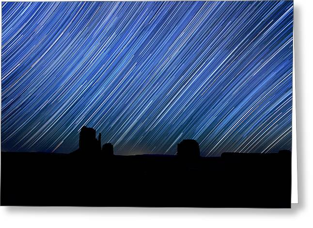 Constellations Pyrography Greeting Cards - Long Exposure Star Trail Image at Night Greeting Card by Katrina Brown