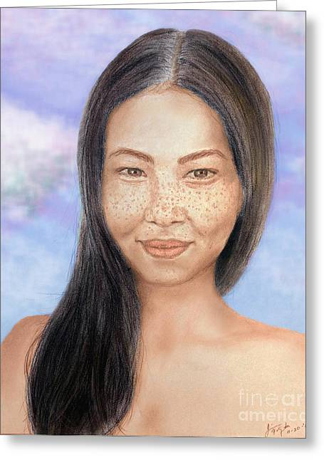 Beauty Mark Mixed Media Greeting Cards - Long Haired Natural Asian Beauty Greeting Card by Jim Fitzpatrick