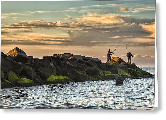 Fishermans Island Greeting Cards - Long Island Life  Greeting Card by Mike Lang