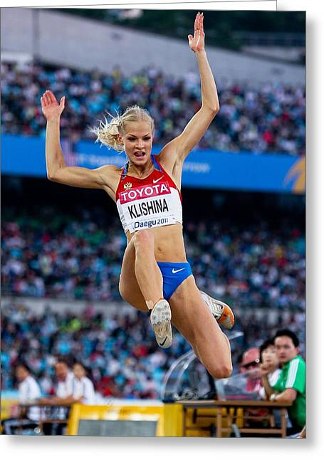 Long Jump Greeting Cards - Long jumper Greeting Card by Science Photo Library