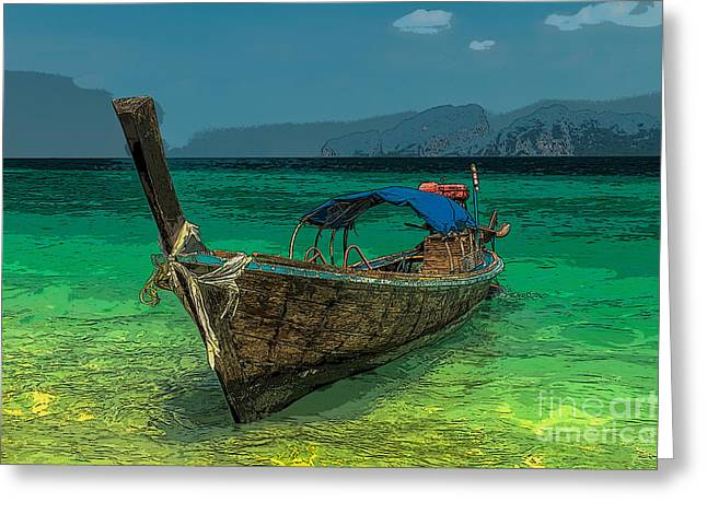 Asia Digital Greeting Cards - Longboat Greeting Card by Adrian Evans