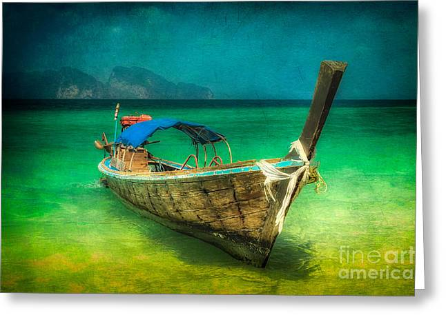 Asia Digital Greeting Cards - Longboat Thailand Greeting Card by Adrian Evans