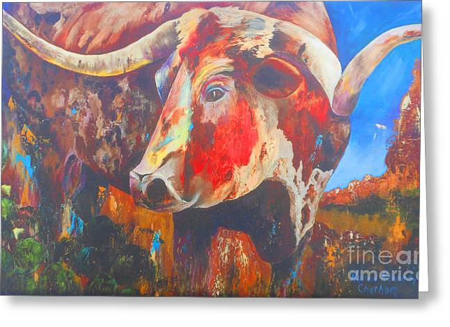 Chatham Greeting Cards - Longhorn Bull Business Greeting Card by Karen Kennedy Chatham