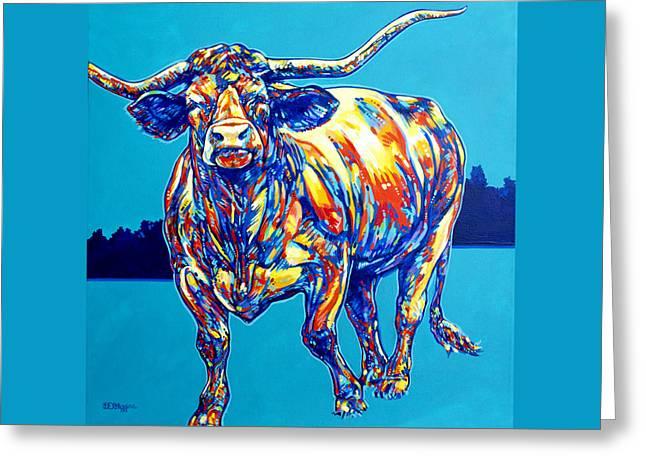 Wildlife Refuge. Paintings Greeting Cards - Longhorn Greeting Card by Derrick Higgins