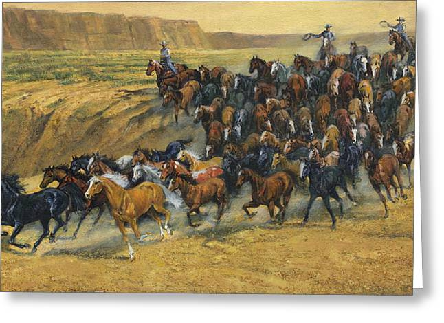 Wild Horse Greeting Cards - Wild Horse Round Up Greeting Card by Don  Langeneckert
