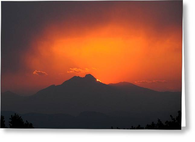 Ft Collins Greeting Cards - Longs Peak Sunset Greeting Card by Aaron Spong