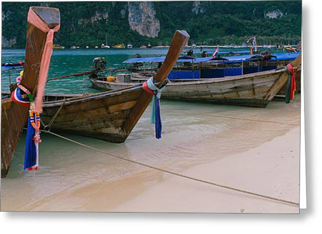 Phi Greeting Cards - Longtail Boats Moored On The Beach Greeting Card by Panoramic Images