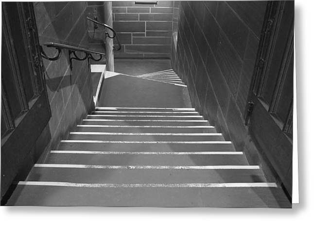 Dungeons Greeting Cards - Looking down steps in ancient building Greeting Card by Ken Biggs