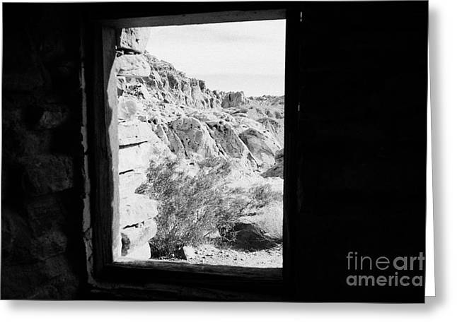 Civilians Greeting Cards - Looking Out Through Window From Interior Of Historic Stone Cabin Built By The Civilian Conservation  Greeting Card by Joe Fox