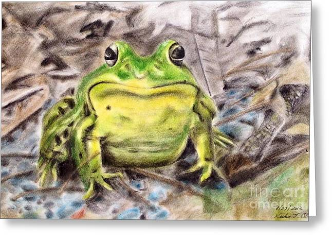 Amphibians Pastels Greeting Cards - Lord of the swamp Greeting Card by Keiko Olds