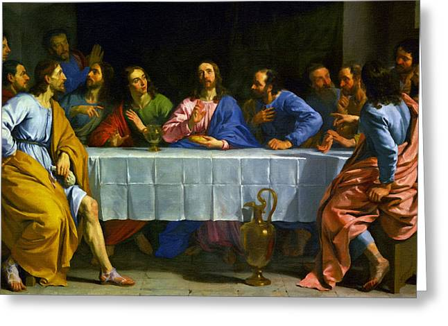 Religious Art Paintings Greeting Cards - Lords Supper Greeting Card by Victor Gladkiy