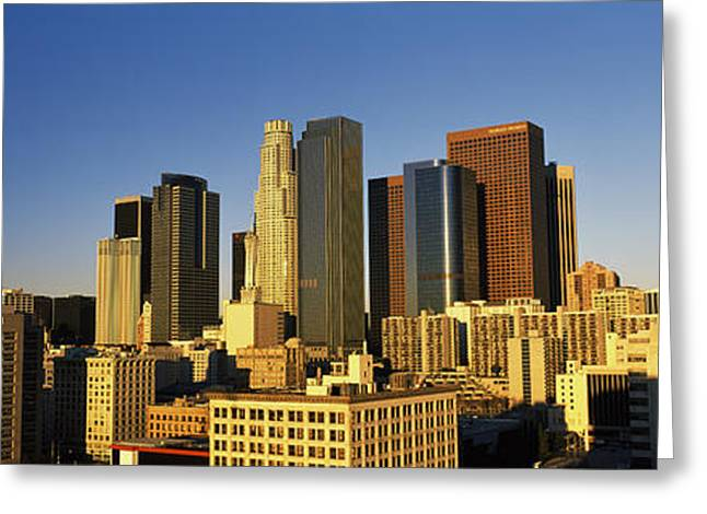 Early Morning Sun Greeting Cards - Los Angeles Ca Usa Greeting Card by Panoramic Images