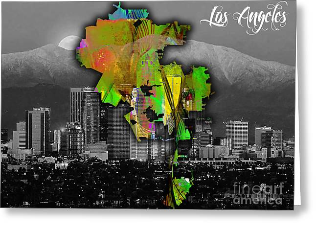Skyline Greeting Cards - Los Angeles Map and Skyline Watercolor Greeting Card by Marvin Blaine