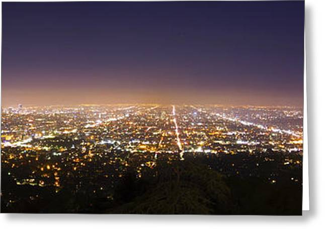 Angel Blues Greeting Cards - Los Angeles Skyline Greeting Card by Jerome Obille