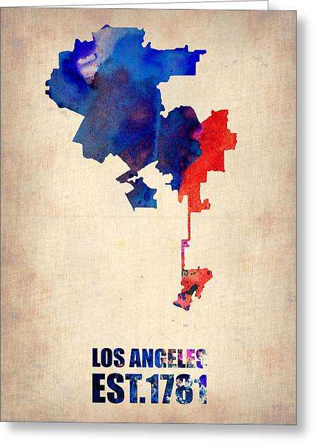 World Maps Mixed Media Greeting Cards - Los Angeles Watercolor Map 1 Greeting Card by Naxart Studio