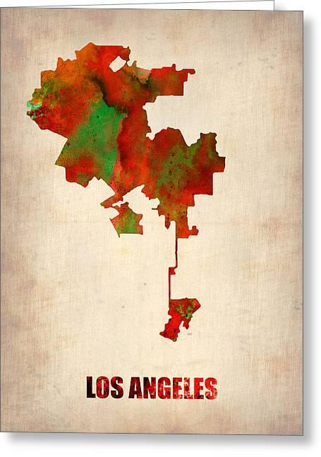 Los Angeles Digital Art Greeting Cards - Los Angeles Watercolor Map Greeting Card by Naxart Studio