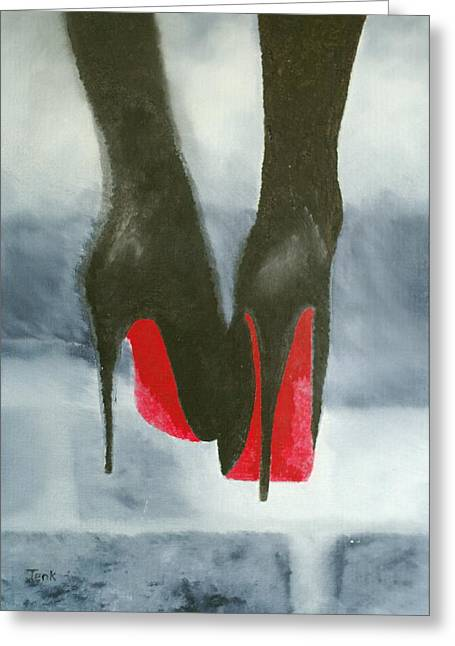 Abstract Fashion Designers Greeting Cards - Louboutin At Midnight Greeting Card by Rebecca Jenkins