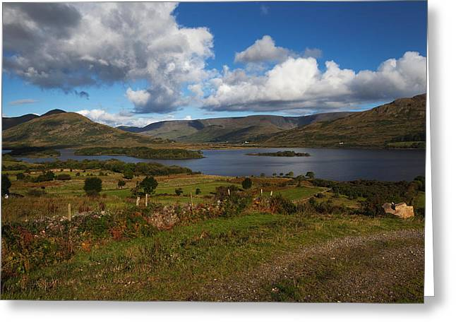 Mountain Pass Greeting Cards - Lough Mask, At Clogh Brack Upper, An Greeting Card by Panoramic Images
