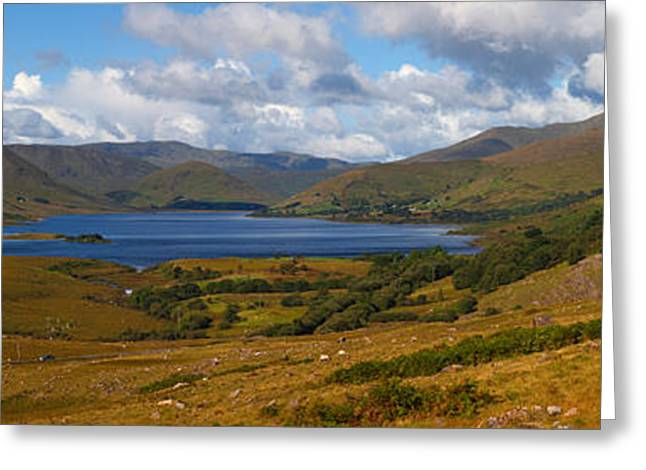 Mountain Road Photographs Greeting Cards - Lough Nafooey, Shot From The County Greeting Card by Panoramic Images