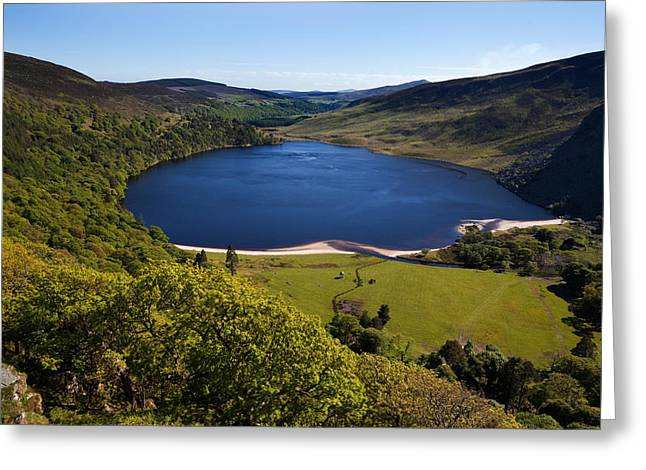 Lough Greeting Cards - Lough Tay Below Luggala Mountain Greeting Card by Panoramic Images