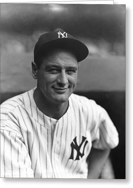 Baseball All Stars Greeting Cards - Louis H. Lou Gehrig Greeting Card by Retro Images Archive