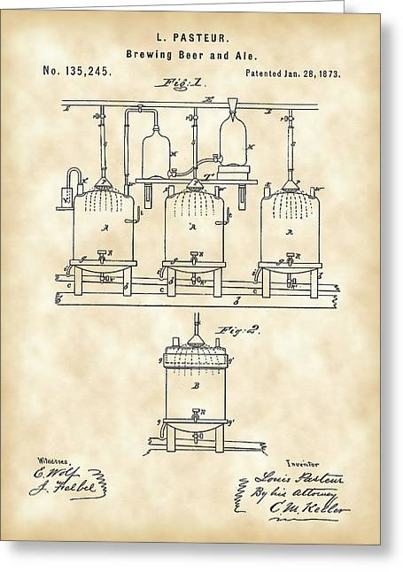 Result Greeting Cards - Louis Pasteur Beer Brewing Patent 1873 - Vintage Greeting Card by Stephen Younts